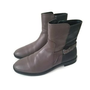 ECCO boots gray leather textured sz 38